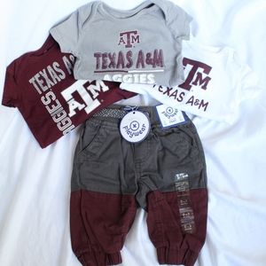 Texas A & M Set of 3 Onesies + Maroon/Grey Sweats